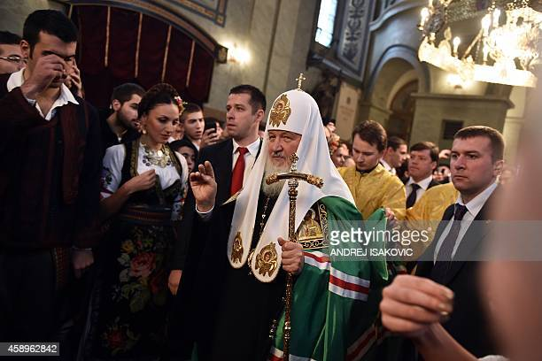 The head of the Russian Orthodox Church Patriarch Kirill arrives at Belgrade's cathedral for a religious ceremony with the Serbian Orthodox Church...