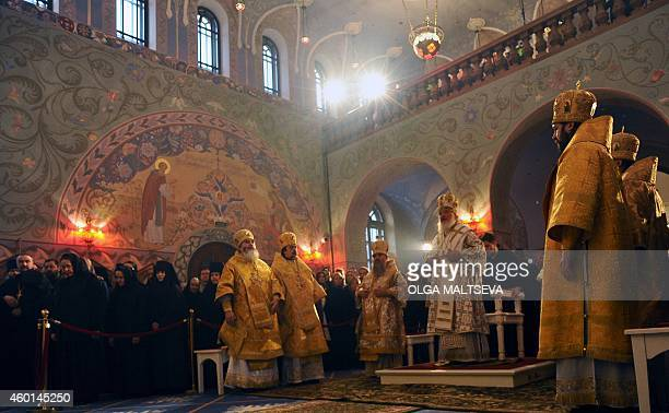 The head of the Russian Orthodox Church Patriarch Kirill lead the service at the Church of Venerable Sergius of Radonezh in Tsarskoye Selo outside St...