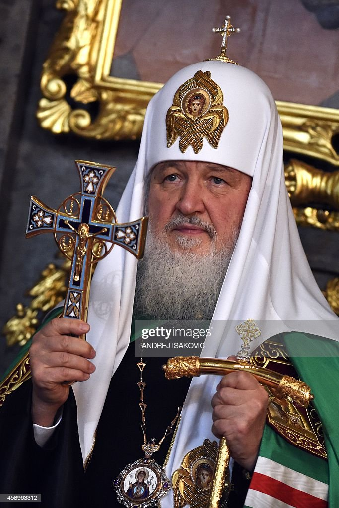 The head of the Russian Orthodox Church Patriarch Kirill leads a mass at Belgrade's cathedral on November 14 2014 Patriarch Kirill arrived for a...