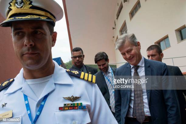 The head of the United Nations Department for Peacekeeping Operations JeanPierre Lacroix arrives for a seminar about the Brazilian participation in...