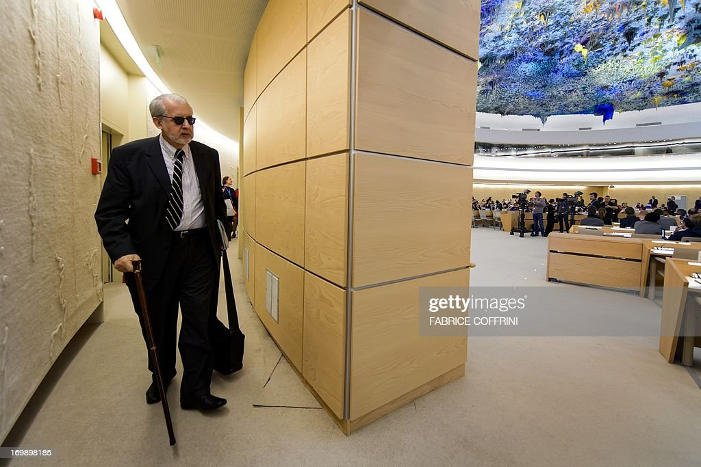 The head of the United Nations Independent Commission of Inquiry (CoI) on Syria, Brazilian Paulo Sergio Pinheiro, arrives on June 4, 2013 to deliver a report to the UN Human Rights Council Geneva. UN investigators said on June 4 they had 'reasonable grounds' to believe chemical weapons have been used by both sides in Syria, and warned that crimes against humanity are now occurring daily in the war-torn country. AFP PHOTO / FABRICE COFFRINI