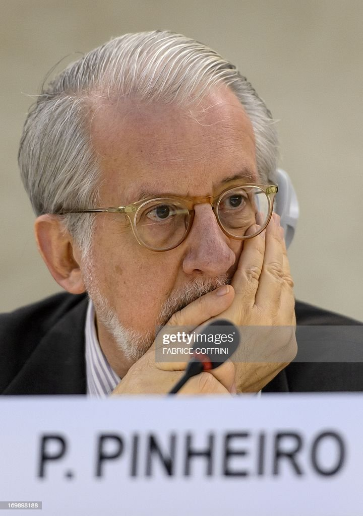 The head of the United Nations Independent Commission of Inquiry (CoI) on Syria, Brazilian Paulo Sergio Pinheiro, listens on June 4, 2013 before delivering a report to the UN Human Rights Council Geneva. UN investigators said on June 4 they had 'reasonable grounds' to believe chemical weapons have been used by both sides in Syria, and warned that crimes against humanity are now occurring daily in the war-torn country. AFP PHOTO / FABRICE COFFRINI