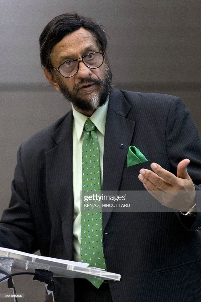 The head of the UN's climate science panel (Intergovernmental Panel on Climate Change - IPCC) <a gi-track='captionPersonalityLinkClicked' href=/galleries/search?phrase=Rajendra+Pachauri&family=editorial&specificpeople=4128691 ng-click='$event.stopPropagation()'>Rajendra Pachauri</a> speaks during a climate conference in Paris on November 5, 2014.