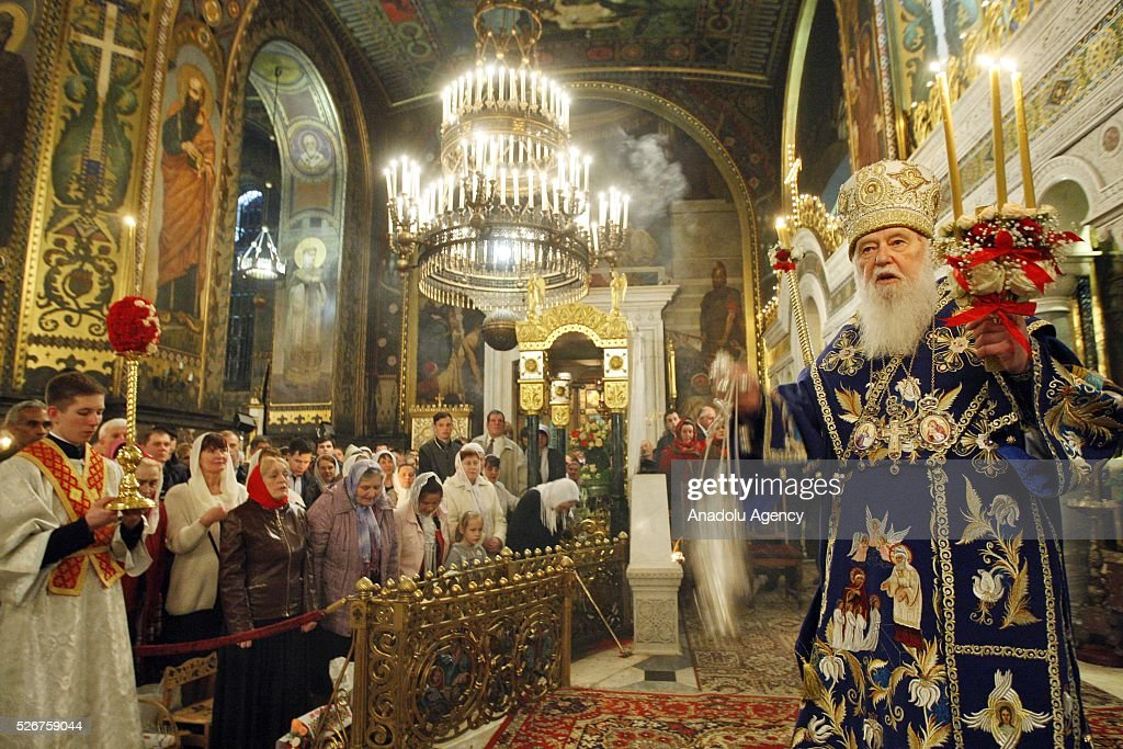 The Head of Ukrainian Orthodox Church Patriarch Filaret attends Orthodox Easter service at St. Volodymyr cathedral in Kiev, Ukraine,on May 01,2016.