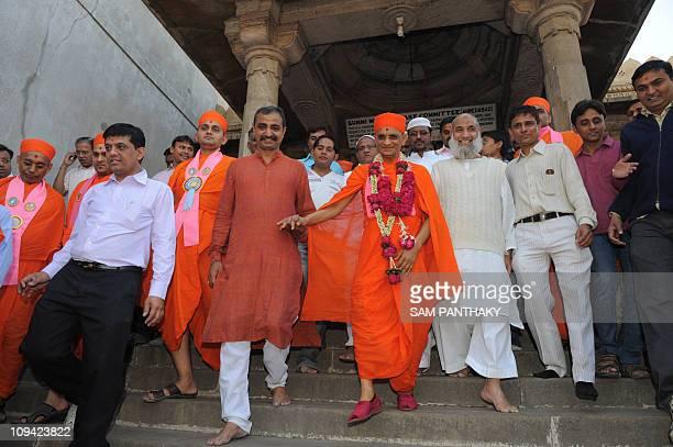 The head priest of Maninagar Shree Swaminarayan Gadi Sansthan Acharya Shree Purshottampriyadasji swamiji maharaj during his visit to the Shahi Jama...