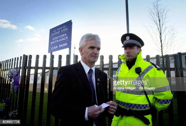 The Head Teacher of All Saints RC Secondary School in Glasgow Tom McDonald returns to the school after speaking to the media The school is where...