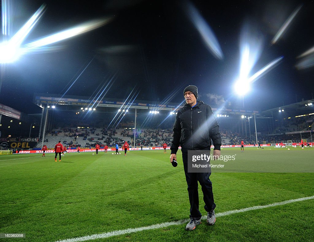 The headcoach of Freiburg, Christian Streich, is waiting for an interview before the Bundesliga match between SC Freiburg and Eintracht Frankfurt at MAGE SOLAR Stadium on February 22, 2013 in Freiburg, Germany.