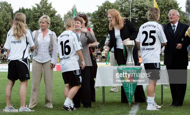 The headcoach of the german women national football team Sylvia Neid the women secretary of the German football association Hannelore Ratzeburg and...