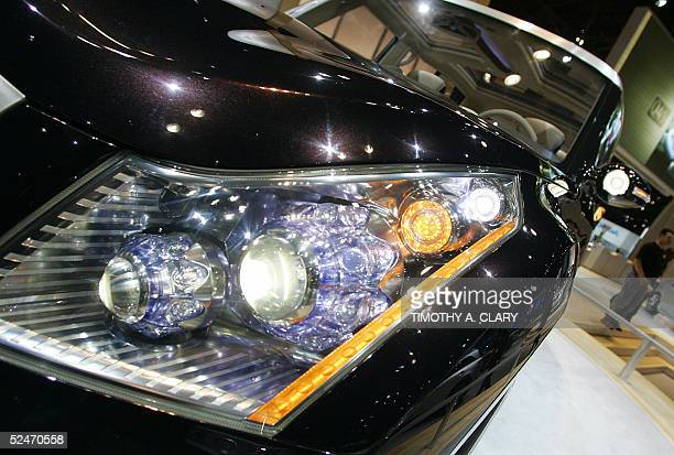 The headlight of the Infinity Kuraza is seen during the 2005 New York Auto Show at the Jacob Javits Convention Center in New York City 23 March 2005...