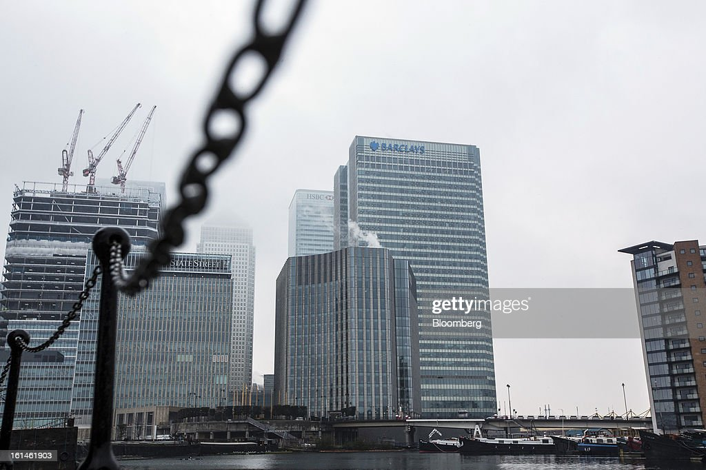 The headquarters of Barclays Plc, center, stands in the Canary Wharf business and financial district in London, U.K., on Monday, Feb. 11, 2013. Barclays Plc Chief Executive Officer Antony Jenkins's pledges to shred the legacy of his predecessor and fix the lender's culture are distracting from the difficulty he has in reviving profit at Britain's biggest investment bank. Photographer: Jason Alden/Bloomberg via Getty Images