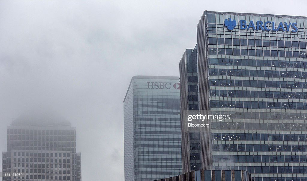 The headquarters of Barclays Plc, right, stands amongst the offices of, from left, No. 1 Canada Square, and HSBC Holdings Plc, in the Canary Wharf business and financial district in London, U.K., on Monday, Feb. 11, 2013. Barclays Plc Chief Executive Officer Antony Jenkins's pledges to shred the legacy of his predecessor and fix the lender's culture are distracting from the difficulty he has in reviving profit at Britain's biggest investment bank. Photographer: Jason Alden/Bloomberg via Getty Images