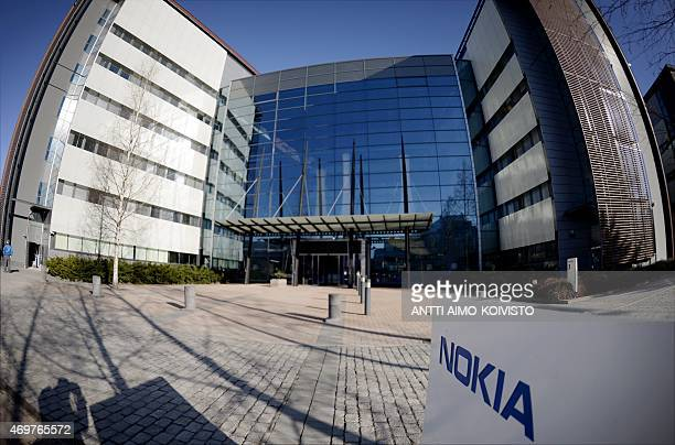 The headquarters of Finnish telecoms equipment maker Nokia in Espoo Finland is pictured with a fisheye lens on April 15 2015 Nokia said on April 14...