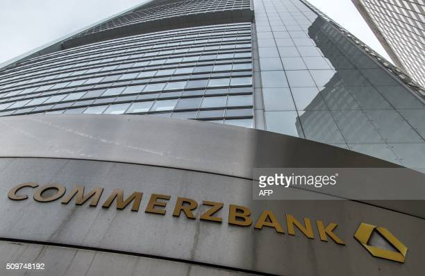 The headquarters of Germany's second biggest bank Commerzbank where is taking place Commerzbank's annual press conference is pictured on February 12...