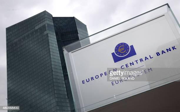 The headquarters of the European Central Bank is pictured in Frankfurt am Main western Germany on July 13 after eurozone leaders have reached an...