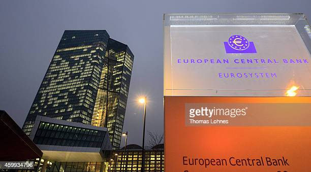 The headquarters of the European Central Bank pictured on December 4 2014 in Frankfurt am Main Germany Mario Draghi President of the European Central...