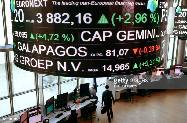 The headquarters of the PanEuropean stock exchange Euronext are pictured in La Defense district near Paris on April 2017 / AFP PHOTO / ERIC PIERMONT