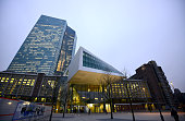 The headquaters of the European Central Bank is seen on December 4 2014 in Frankfurt am Main Germany Mario Draghi President of the European Central...