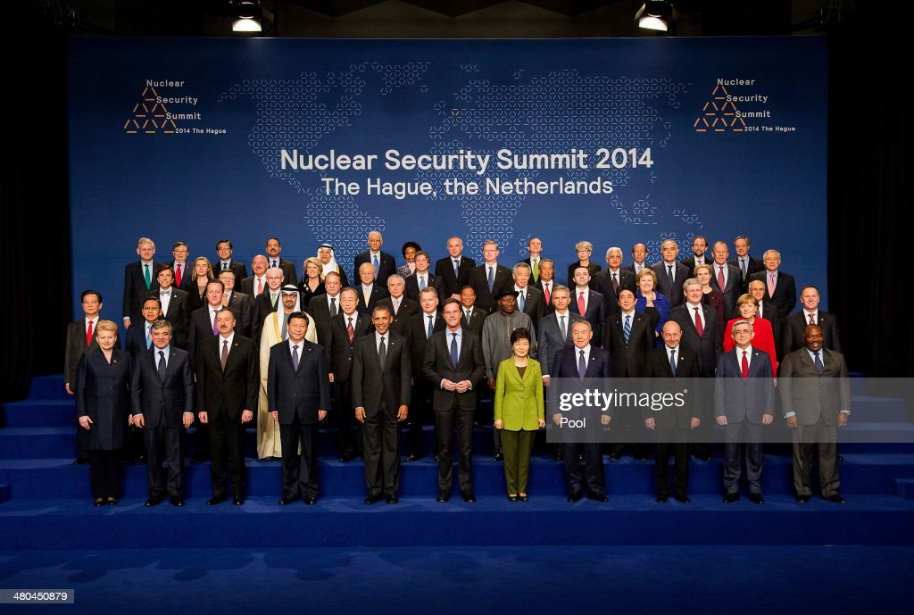 The heads of the delegations pose for a group photo at the 2014 Nuclear Security Summit on March 25, 2014 in The Hague, Netherlands. Leaders from around the world have come to discuss matters related to international nuclear security, though the summit is overshadowed by recent events in Ukraine.