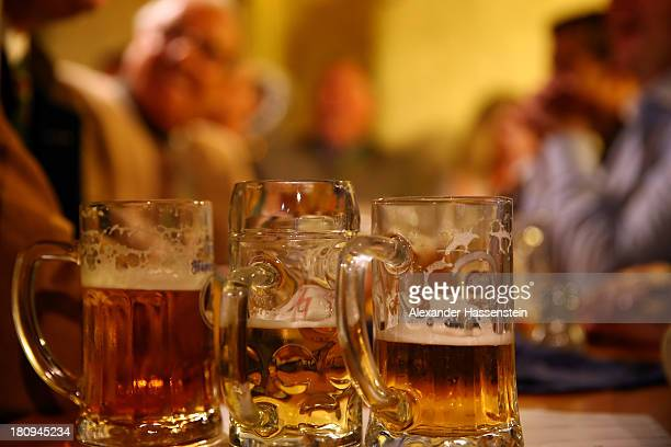 The heads of the six Munich breweries meet to taste their special Oktoberfest brews in the cellar of the Munich Beer and Oktoberfest Museum on...