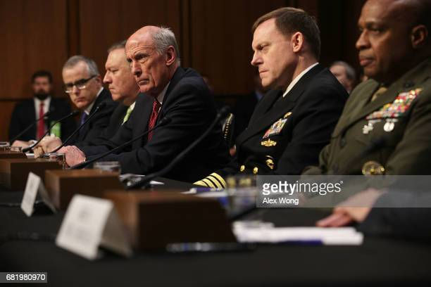The heads of the United States intelligence agencies Acting FBI Director Andrew McCabe Central IntelligenceæAgency Director Mike Pompeo Director of...