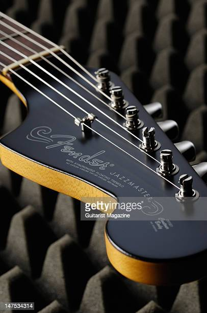 The headstock of a Fender Thurston Moore signature Jazzmaster electric guitar during a studio shoot for Guitarist Magazine July 23 2009