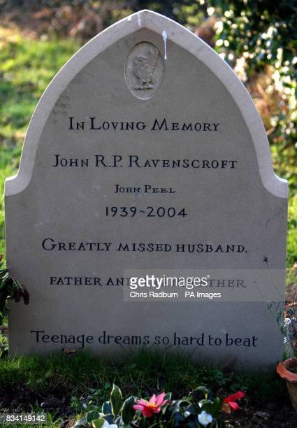The headstone of legendary DJ John Peel recently erected and engraved with the song lyric 'Teenage dreams so hard to beat' from the Undertones 1978...