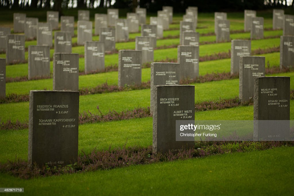 The headstones of World War One German soldiers sit in the Cannock Chase German War Cemetery on July 31 2014 in Cannock England Cannock Chase German...