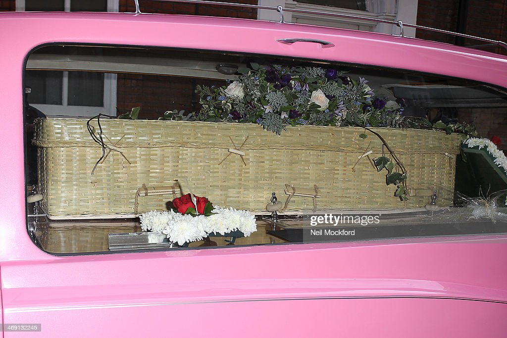 The hearse arrives at the funeral of Roger Lloyd-Pack at St Paul's Church in Covent Garden on February 13, 2014 in London, England.