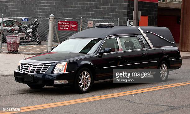 The hearse carrying legendary hockey Hall of Famer Gordie Howe arrives at Joe Louis Arena for his visitation June 14 2016 in Detroit Michigan Howe...