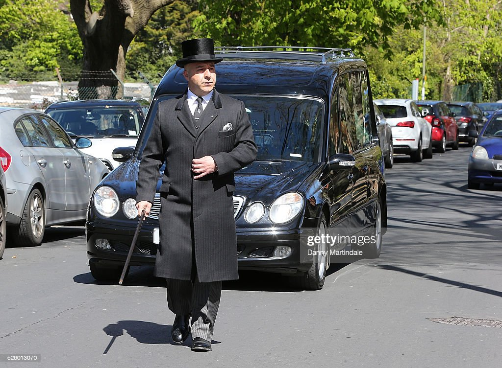The hearse carrying the body of David Gest arrives for his funeral at Golders Green Crematorium on April 29, 2016 in London, England.