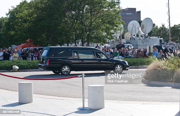 The hearse carrying the body of Senator Edward M Kennedy arrives at the John F Kennedy Library in the Dorchester section of the city of Boston MA on...