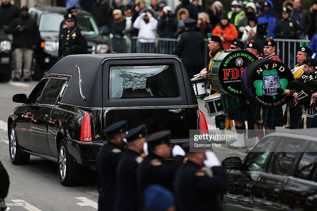 The hearse carrying the casket of former New York City Mayor Ed Koch drives away following funeral services at Manhattan's Temple Emanu-El on February 4, 2013 in New York City.The iconic former New York mayor passed away on February 1, 2013 in New York City at age 88. Ed Koch was New York's 105th mayor and ran the city from 1978-89. He was often outspoken and combative and has been credited with rescuing the city from near-financial ruin during a three-term City Hall run.