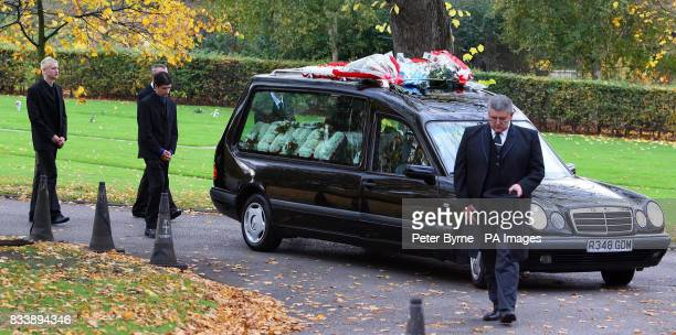The hearse carrying the coffin of Guy Davies who was killed whilst crossing the motorway with his friend Kieran Coupe arrives at Walton Lea...