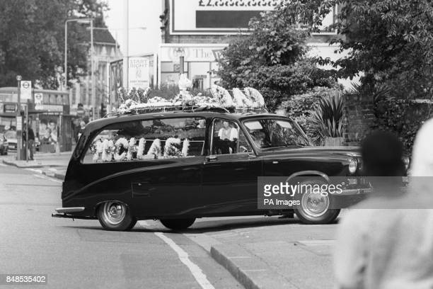 The hearse carrying the coffin of Michael Flynn to his funeral at St Lawrence Church Bromley Road Catford after which a scuffle broke out between...