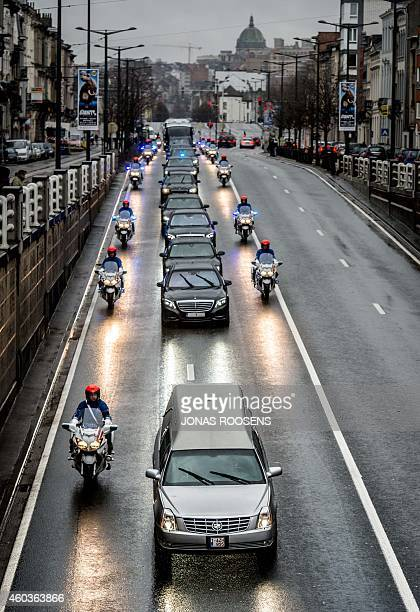The hearse carrying the coffin of Queen Fabiola leaves the Saint Michael and Saint Gudula Cathedral on its way to the NotreDame Church during her...