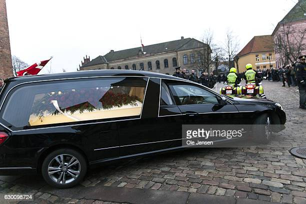 The hearse carrying the coffin of the murdered Danish police officer Jesper Jul leaves Roskilde Cathedral where the policeman received a state...