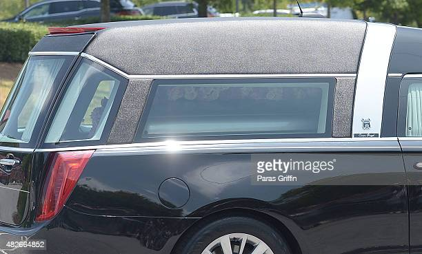 The hearse containing the casket of Bobbi Kristina Brown departs Bobbi Kristina Brown Funeral at St James United Methodist Church on August 1 2015 in...