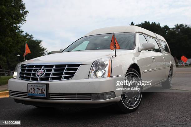 The hearse containing the remains of Sandra Bland arrives before her funeral service at DuPage African Methodist Episcopal Church on July 25 2015 in...