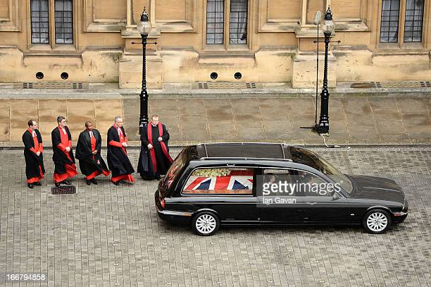 The hearse leaves the Chapel of St Mary Undercroft at the Palace of Westminster during the Ceremonial funeral of former British Prime Minister...