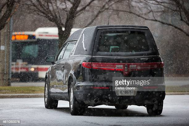The hearse waiting for the casket of Amaria Dijohn waits outside the Malvern Christian Assembly before her funeral service Amaria died when she was...