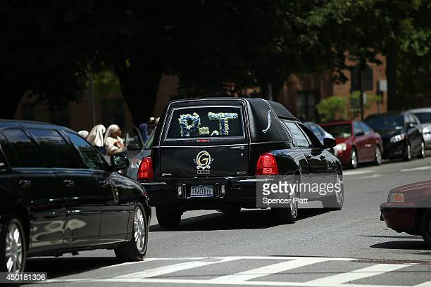 The hearse with a P J flower arrangement for the funeral for 6yearold Prince Joshua Avitto leaves St Paul's Baptist Church in East New York on June 6...