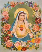 The Heart of Virgin Mary in the flowers. Typical traditional catholic image printed in Germany in end of 19. cent. originally designed by unknown painter and taken in village Sebechleby in Slovakia.