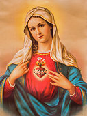 Sebechleby - The Heart of Virgin Mary. Typical catholic image printed in Germany from the end of 19. cent. originally by unknown painter.