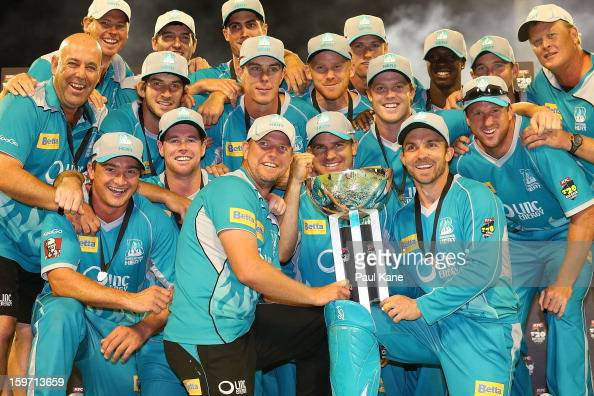 The Heat pose with the trophy after winning the Big Bash League final match between the Perth Scorchers and the Brisbane Heat at the WACA on January...