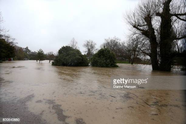 The Heathcote river as it rises to high levels on July 22 2017 in Christchurch New Zealand Heavy rain across the South Island in the last 24 hours...