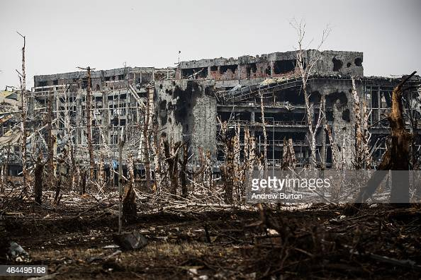 The heavily damaged Donetsk airport is seen on February 26 2015 in Donetsk Ukraine The Donetsk airport has been one of the most heavily fought over...