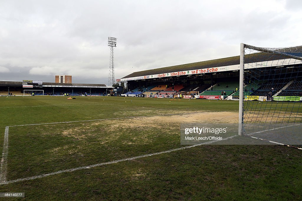 The heavily sanded goal area at Roots Hall during the FA Cup Third Round match between Southend and Millwall at Roots Hall on January 4, 2014 in Southend, England.