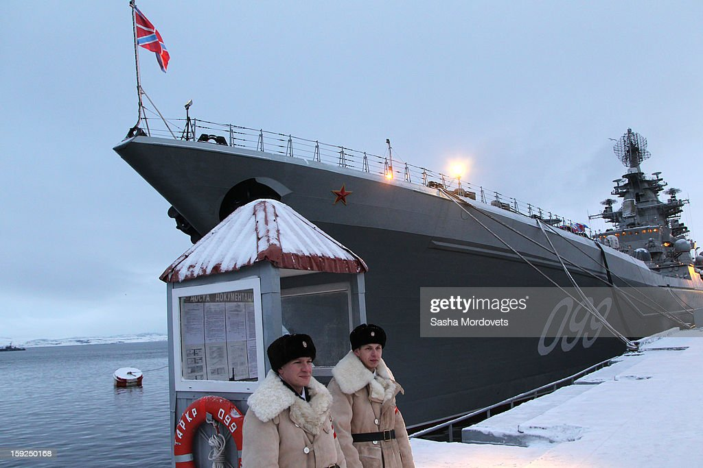 The heavy nuclear-powered missile cruiser Pyotr Veliky is seen at the Russian Northern Fleet's base January 10, 2013 in Severomorsk, Russia. Russian President Vladimir Putin awarded the crew of the Pyotr Veliky the Nakhimov order.
