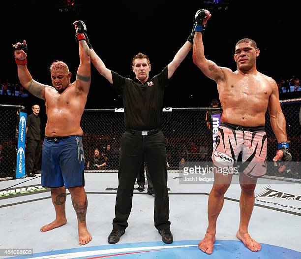 The heavyweight fight between Mark Hunt and Antonio 'Bigfoot' Silva is declared a majority draw during the UFC Fight Night event at the Brisbane...