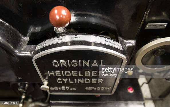 The Heidelberg letterpress as used by printer Stan Lane at Gloucester Typesetting Services in Stonehouse on February 27 2017 in Gloucestershire...